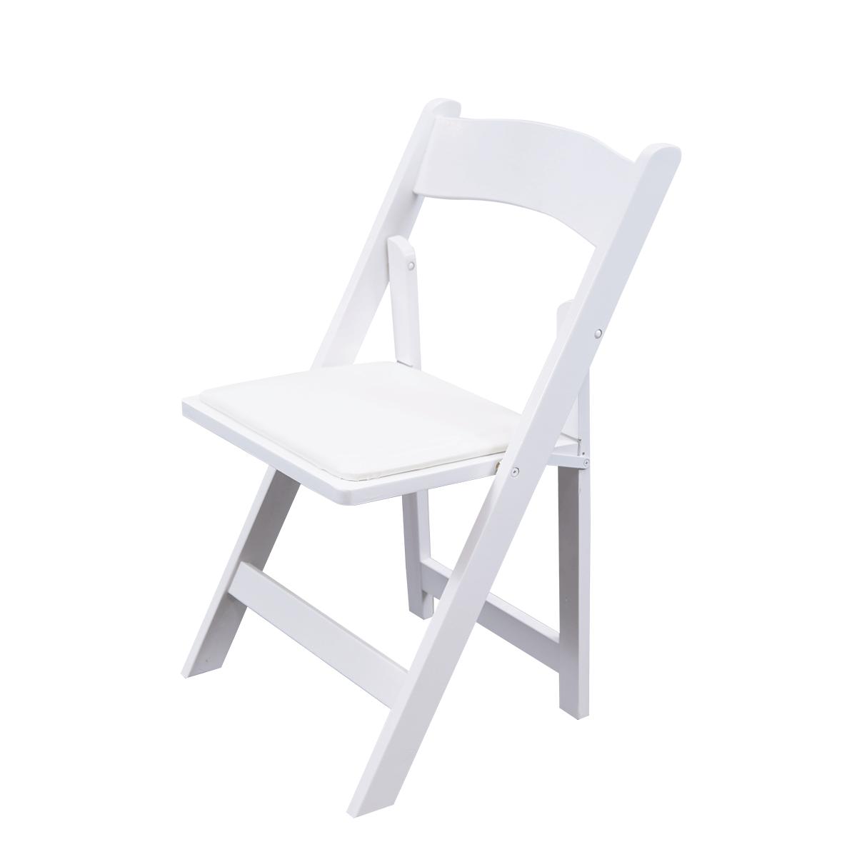 Bistrostuhl, Holz, weiß, klappbar mit Sitzpolster