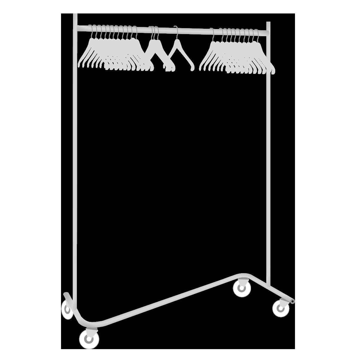 Gardrobenständer, Chrom, rollbar, mit 40 Bügel