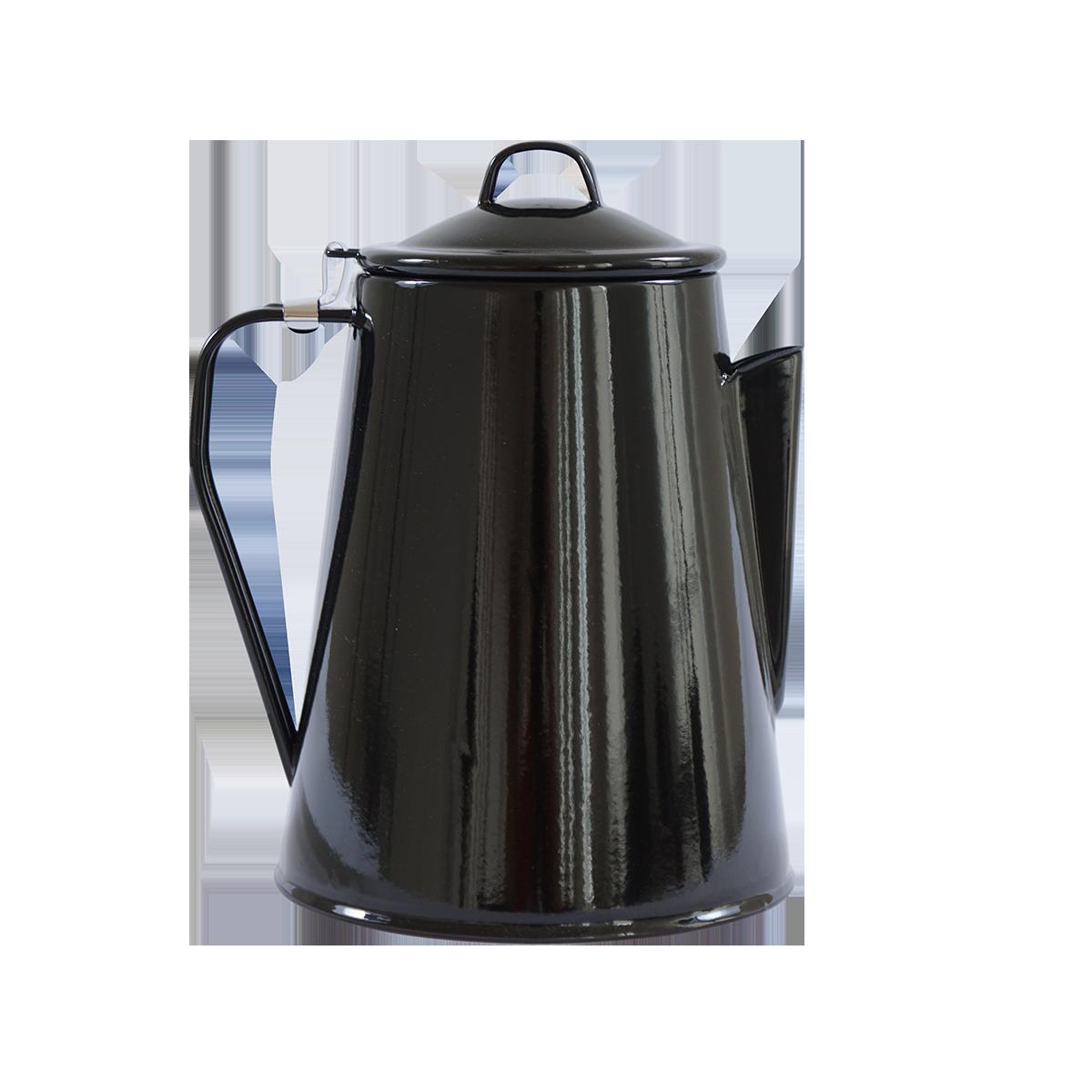 Emaille-Kaffeekanne schwarz
